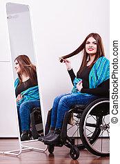 handicapé, regarder, girl, miroir.