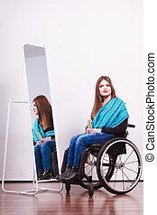 handicapé, regarder, girl, relfection.