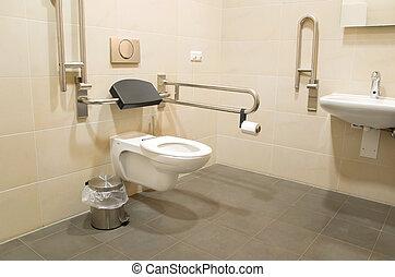handicapé, salle bains, gens