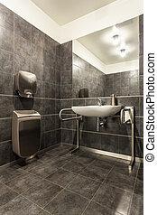 handicapé, -, salle bains, hôtel, pays boisé