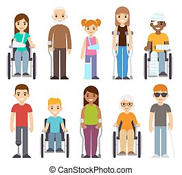 handicapé, set., malade, caractères