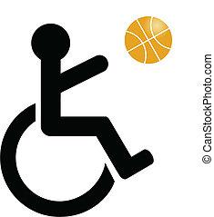 handicapé, symbole, basket-ball, jouer