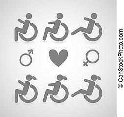 handicapé, symbole, ensemble