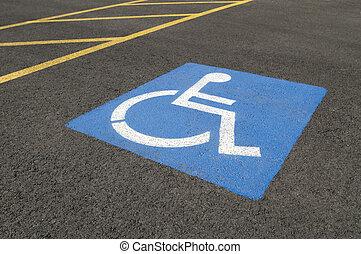 handicapé, symbole, stationnement