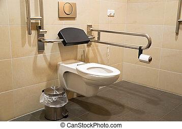 handicapé, toilette, gens