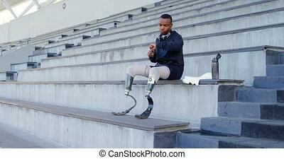 handicapé, utilisation, smartwatch, athlétique, 4k