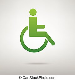 handicapé, vert, symbole., icône