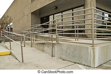 Handicap Access - The front of a building equipped with a...