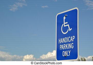 handicap, alleen, het teken van het parkeren