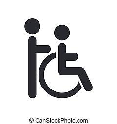 handicap, assistent, vrijstaand, illustratie, enkel, vector,...