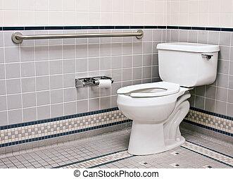 handicap bathroom with grab bars and ceramic tile