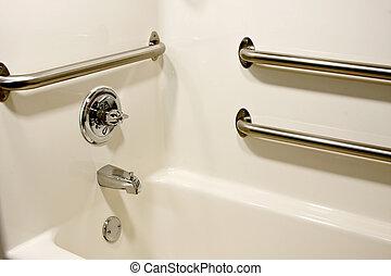 handicap bathtub - chrome grab safety bars in a handicap...