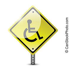 handicap, conception, route, illustration, signe