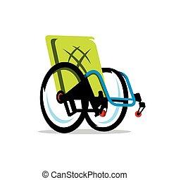 handicap, fauteuil roulant, vecteur, dessin animé, ...