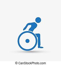 handicap, icône, handicapé