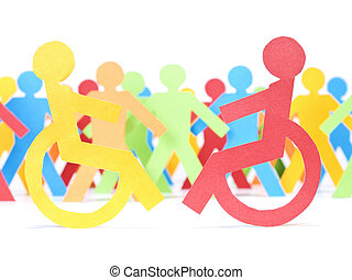 Two paper men on wheelchair. Multicolor paper crew on the background.