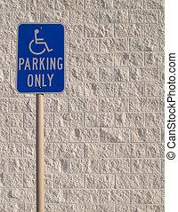 Handicap Parking Sign - Blue handicap parking sign with a...