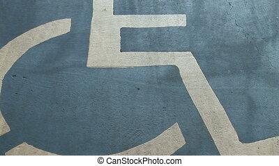 Handicap Parking Symbol - Handicap parking sign painted on a...