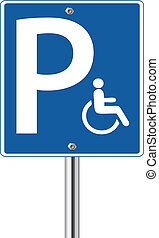 Handicap parking traffic sign on white