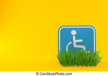 Handicap symbol on grass