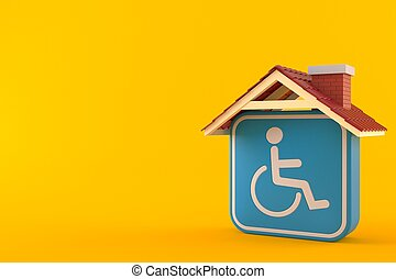 Handicap symbol with roof
