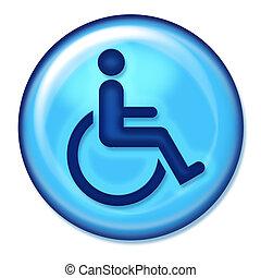 handicap, toile, icône
