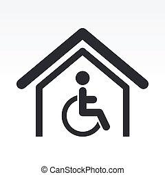 handicap, vrijstaand, illustratie, enkel, vector, pictogram