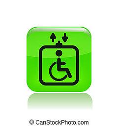 handicap, vrijstaand, lift, enkel, vector, illustratie, ...