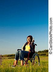 handicappato, carrozzella, donna