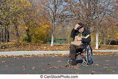 handicappato, carrozzella, solitario, uomo