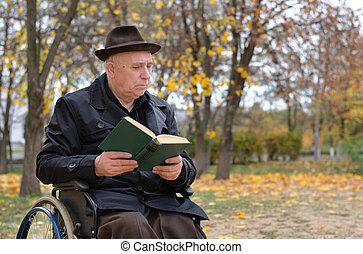 handicappato, carrozzella, uomo anziano