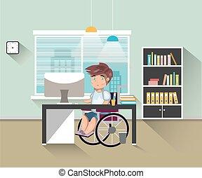 handicappato, lavoro, ufficio, uomo