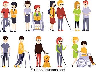 handicappato, vita, set, ricevimento, aiuto, persone, fisicamente, sostegno, famiglia, incapacità, invalido, loro, pieno, uomini, illustrazioni, sorridente, godere, amici, donne