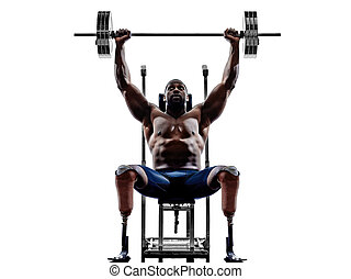 handicapped body builders building weights man with legs prosthe