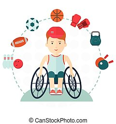 Disabled yang athlete may engage in any kind of sports. Football, basketball, tennis, rugby, athletics, boxing. Handicapped athlete. Objects isolated on background. Flat cartoon vector illustration.