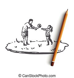 Handicapped, boy, disabled, play, ball, prosthesis concept. Hand drawn isolated vector.