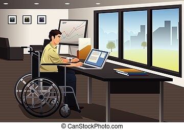 Handicapped Businessman Working in Office
