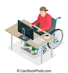 Handicapped man in wheelchair in a office working on a computer. Flat 3d isometric vector illustration.
