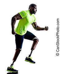 handicapped man joggers runners running with legs prosthesis sil
