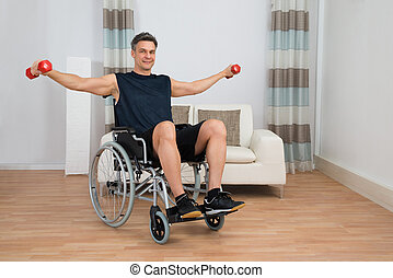 Handicapped Man On Wheelchair Working Out