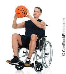 Handicapped Man On Wheelchair Working Out With Dumbbell -...