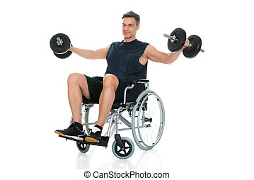 Handicapped Man On Wheelchair Working Out With Dumbbell Over...