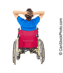 handicapped man sitting on a wheelchair and painful pose
