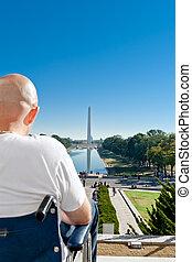 Handicapped Man Wheelchair Washington Monument DC
