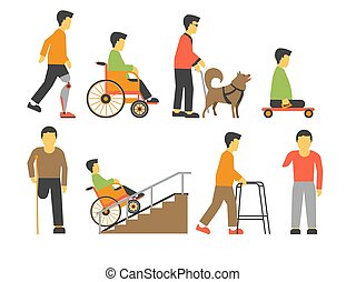 Handicapped people with disability limited physical opportunities vector icons