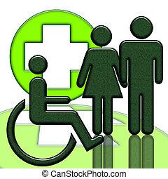 handicapped person, medicinsk, ikon
