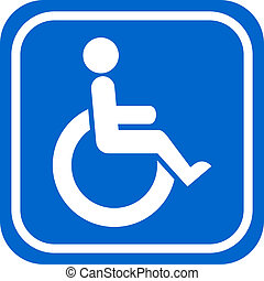 Handicapped person sign - White and blue handicapped person...