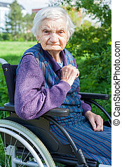 Handicapped senior woman