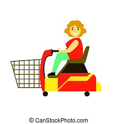 Handicapped shopping with mobility scooter, colorful character vector Illustration