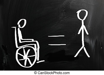 Handicapped sign drawn with chalk on a blackboard